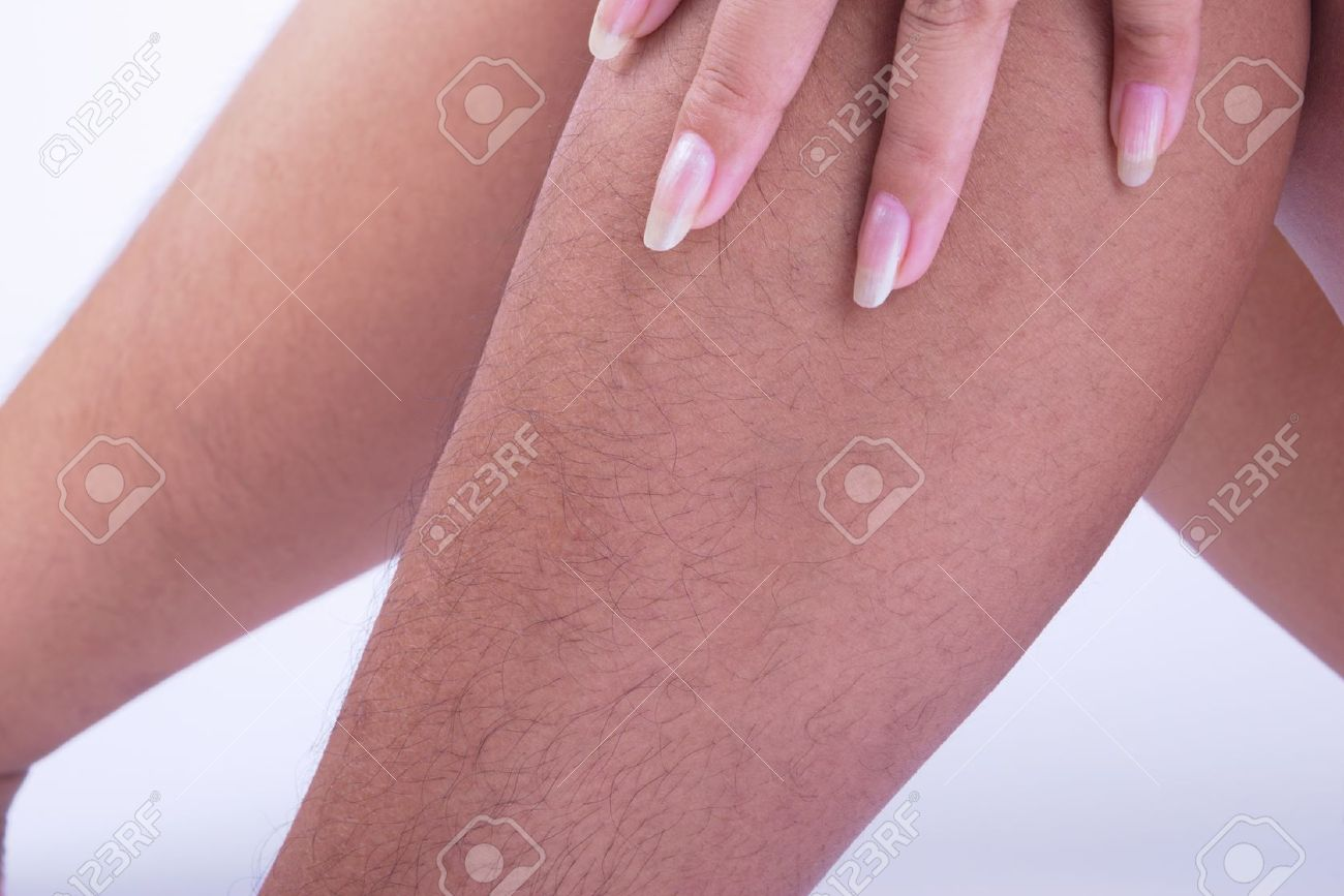 hairy legs of women long and very ugly. stock photo, picture and