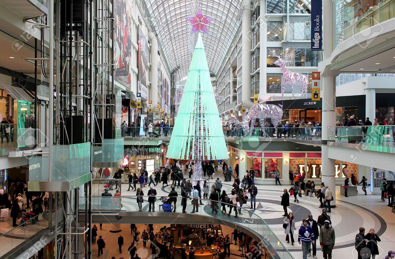 Busy Christmas Shopping Day At Toronto Eaton Centre Stock Photo