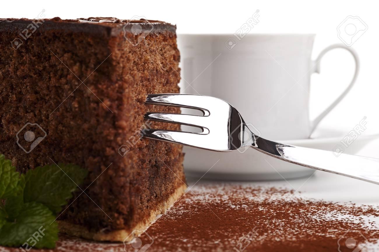 piece of tasty chocolate cake isolated Stock Photo - 13788278