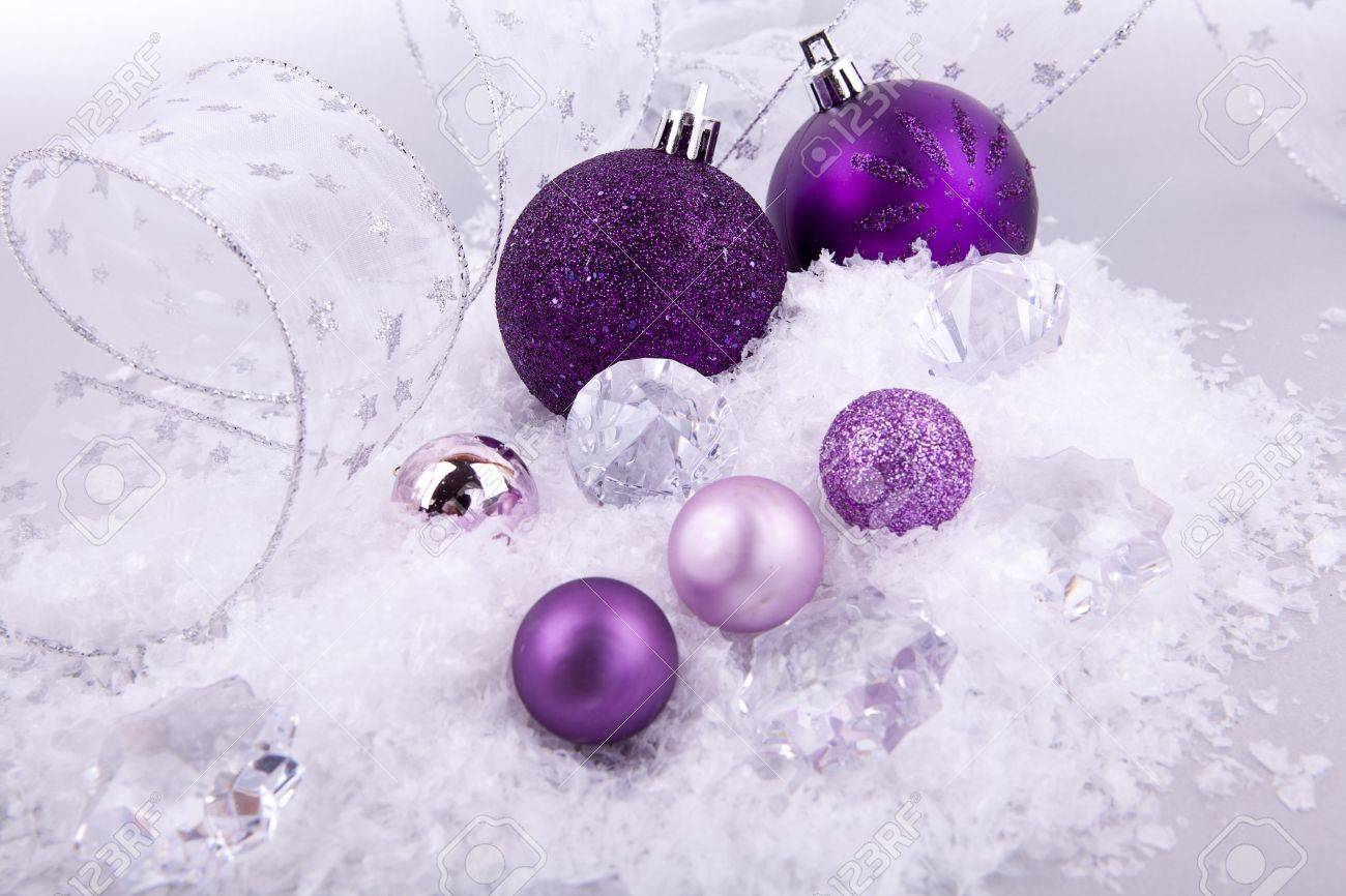Purple and silver christmas decorations - Stock Photo Beautiful Christmas Decoration In Purple And Silver On White Snow Sparkle