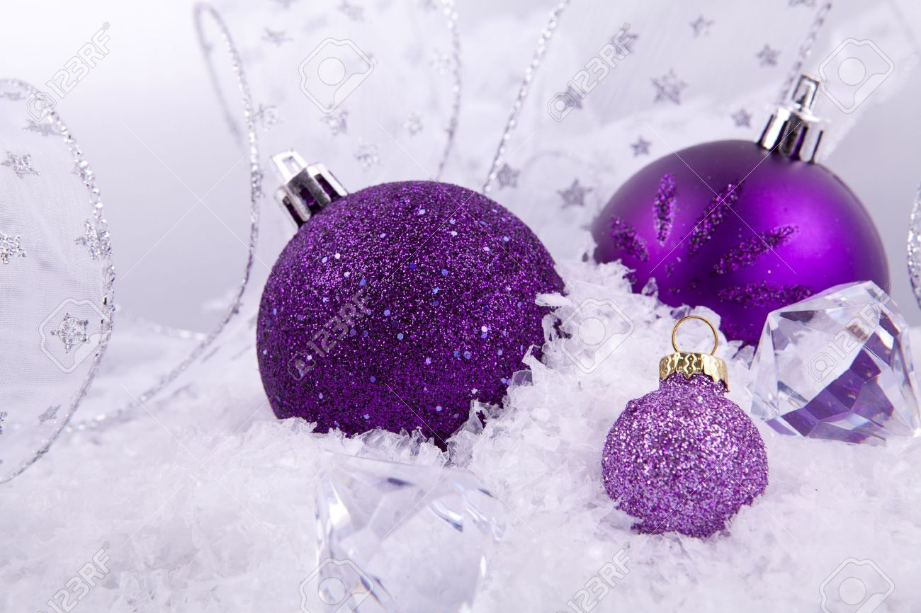 Purple and silver christmas decorations - Beautiful Christmas Decoration In Purple And Silver On White Snow Sparkle Stock Photo 14644544
