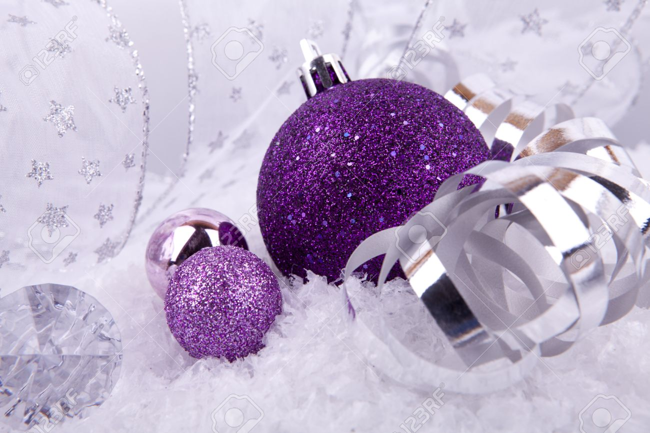 Purple silver and white christmas decorations - Beautiful Christmas Decoration In Purple And Silver On White Snow Sparkle Stock Photo 14644546