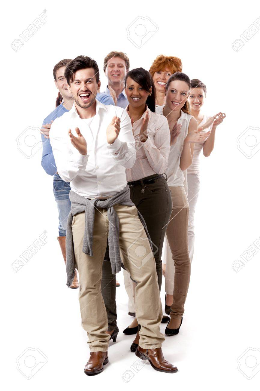 happy people business team group together isolated on white background Stock Photo - 16490412