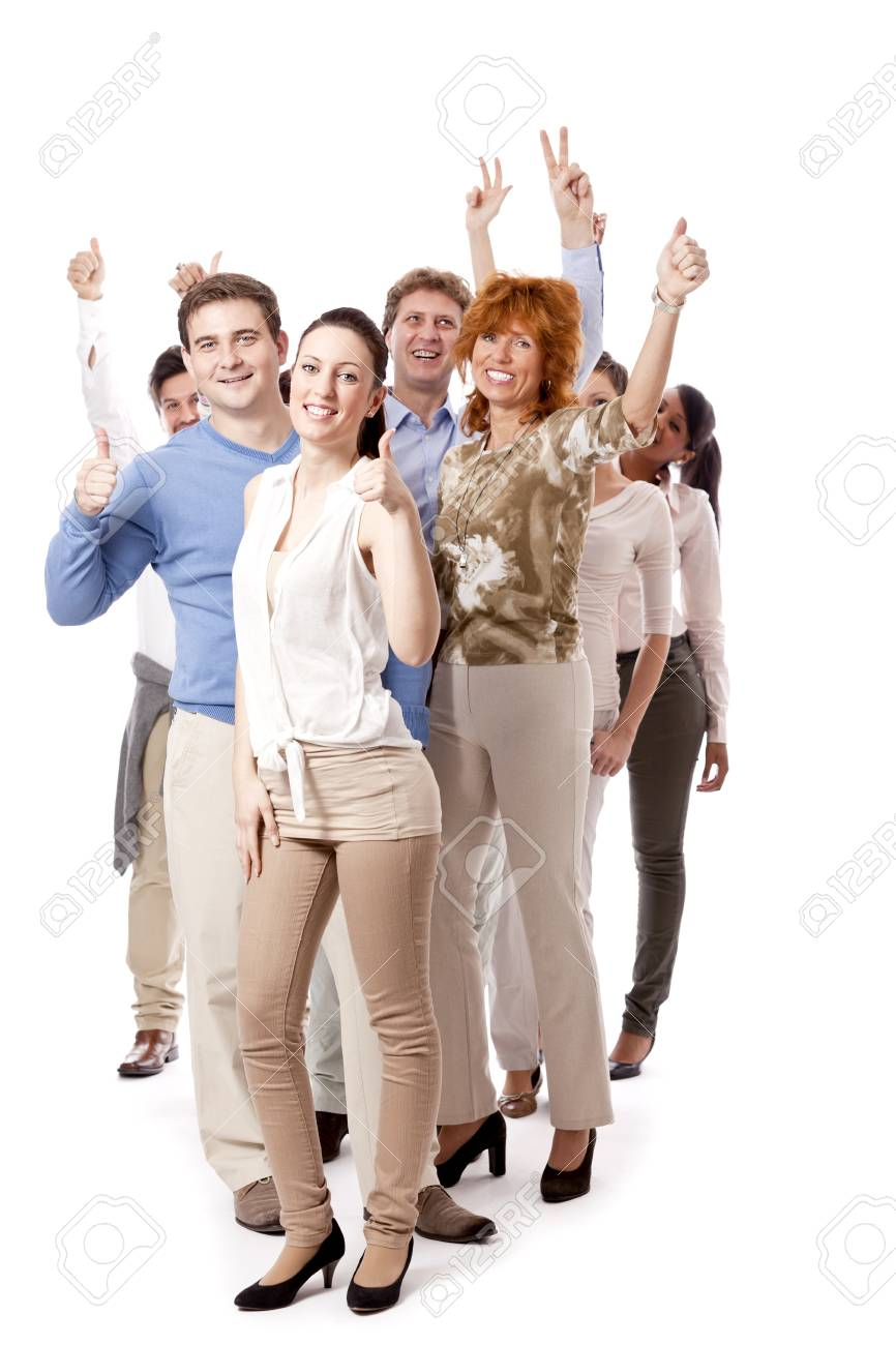 happy people business team group together isolated on white background Stock Photo - 16490401