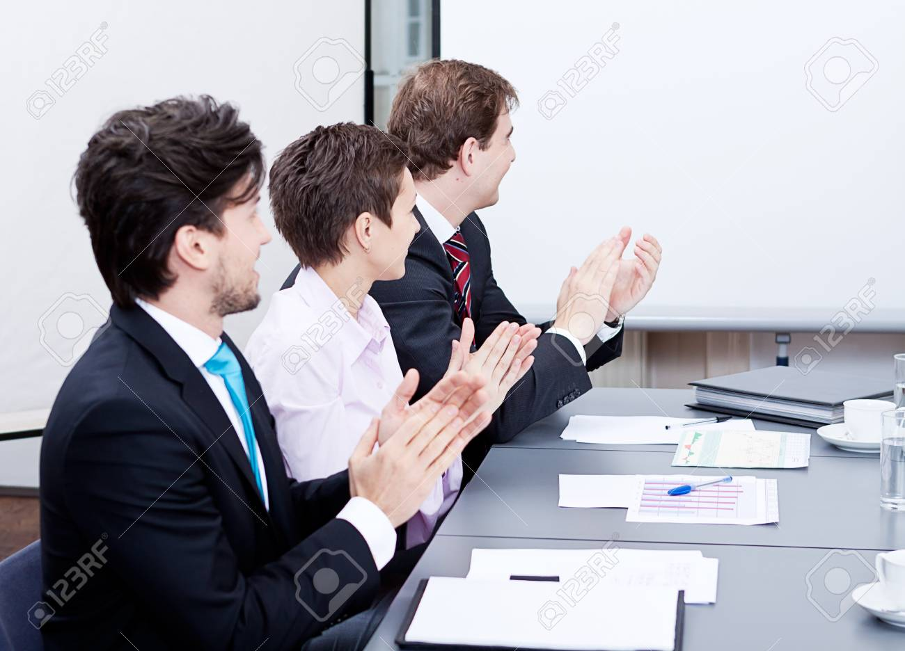business team on table in office conference seminar presentation Stock Photo - 17289991