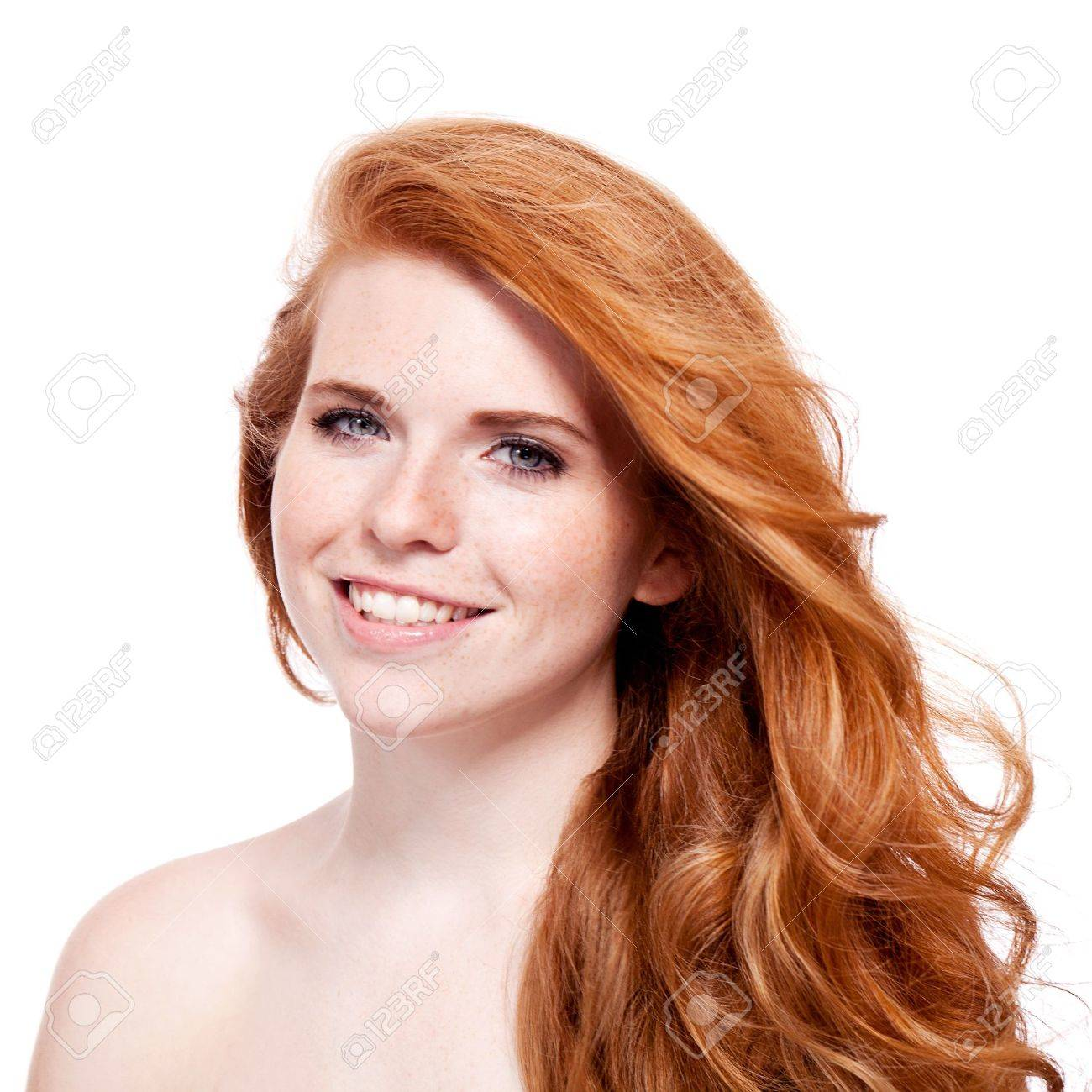beautiful young redhead woman with freckles portrait isolated on white - 21284158