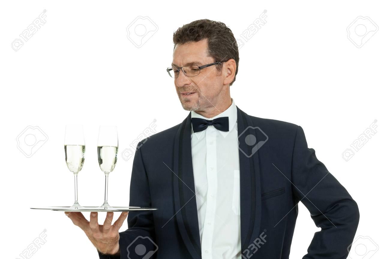 成人男性ウェイター 2 つグラス ...