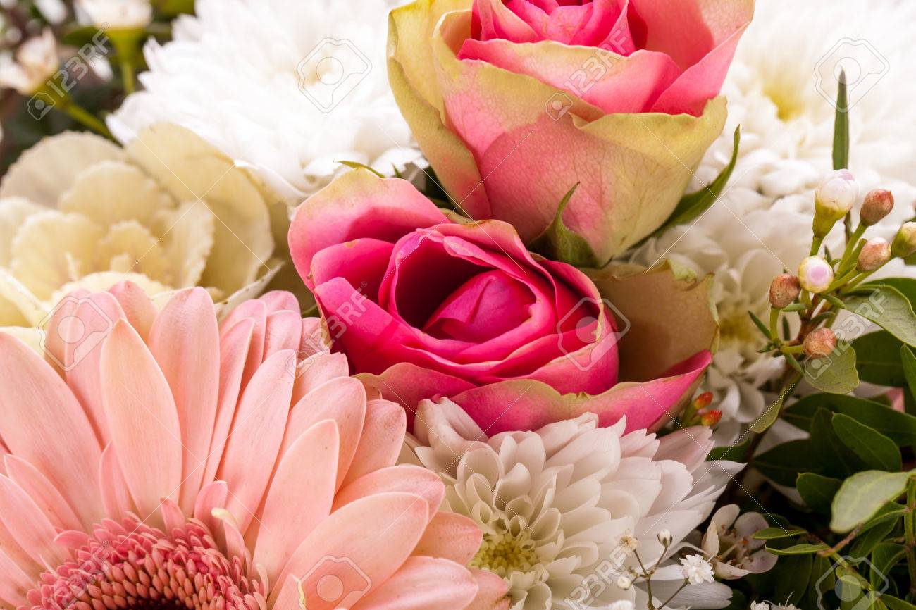 Bouquet Of Fresh Pink And White Flowers With A Gerbera Daisy Dahlia