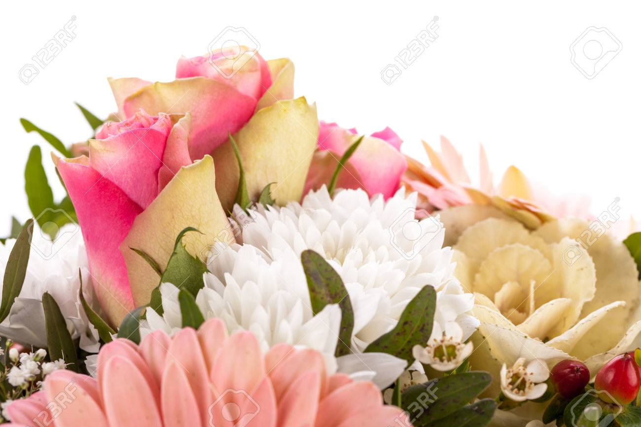 Bouquet Of Fresh Pink And White Flowers With A Gerbera Daisy
