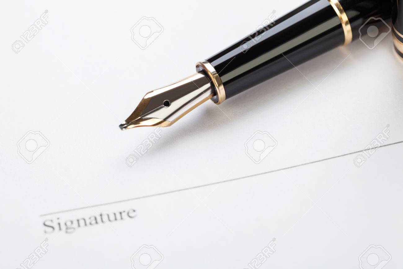 Macro Closeup Sign Document Contract Pen Filler White Background ...