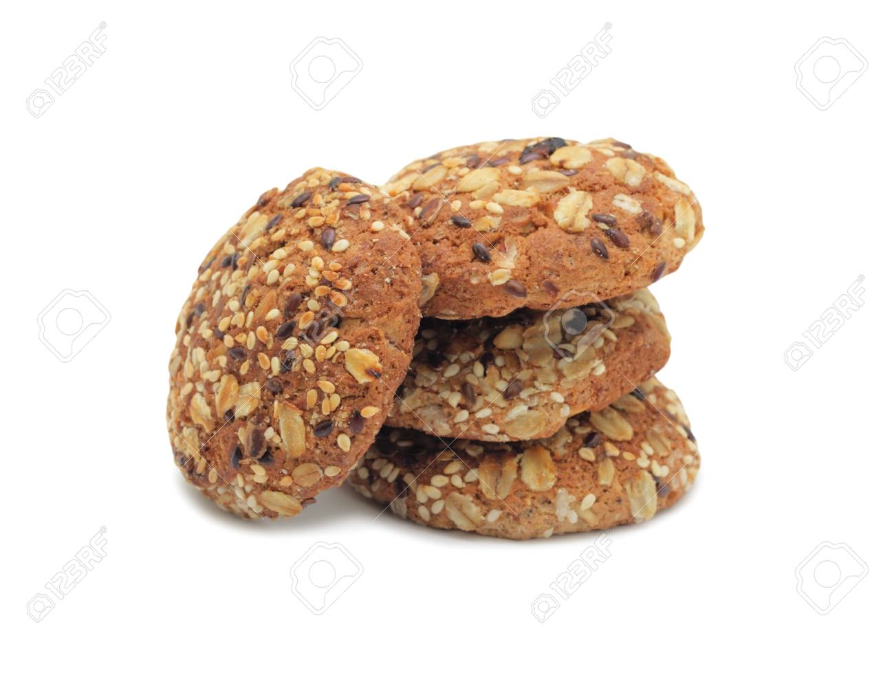 Sweet cookies with seeds, isolated on a white background Stock Photo - 11801933