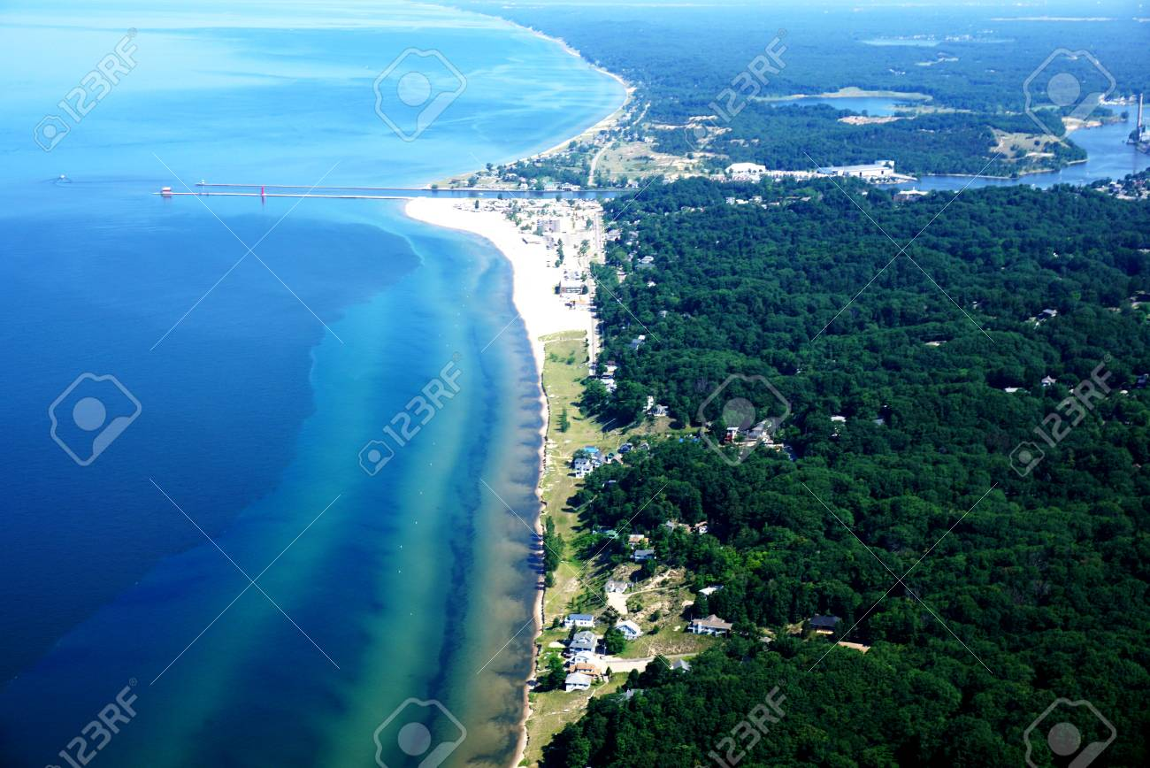 The Shore of Lake Michigan from a Bird's Eye View  Coastline