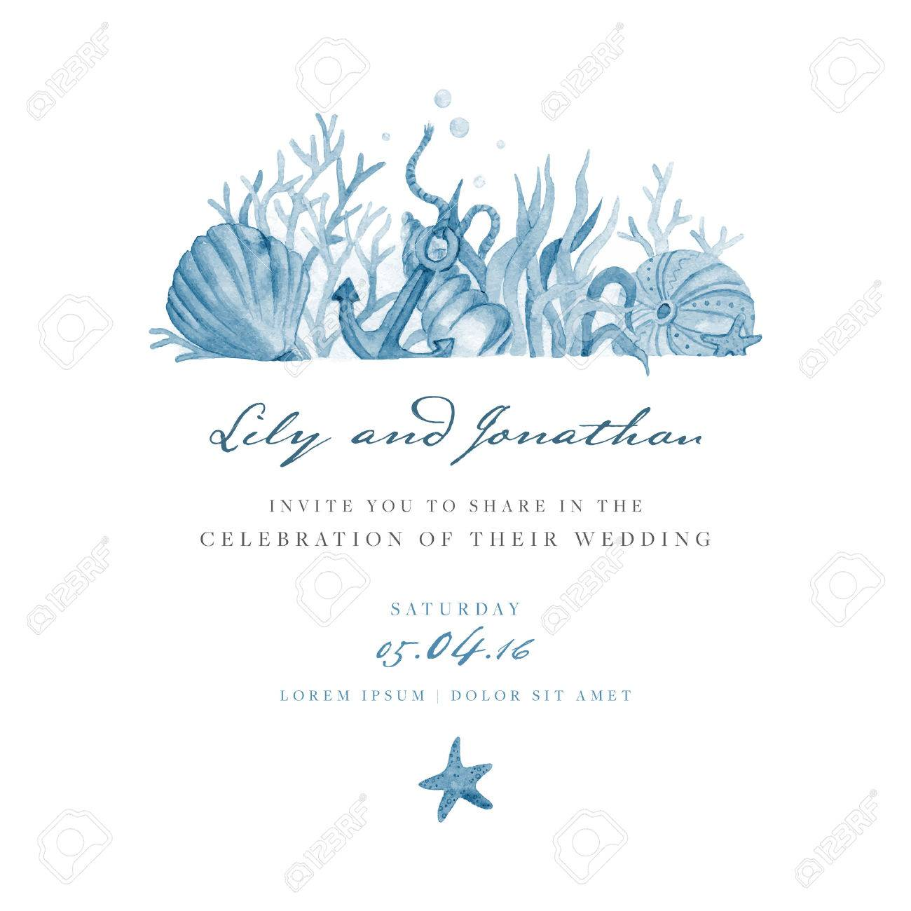 Marine Wedding Invitation. Template With Blue Watercolor ...