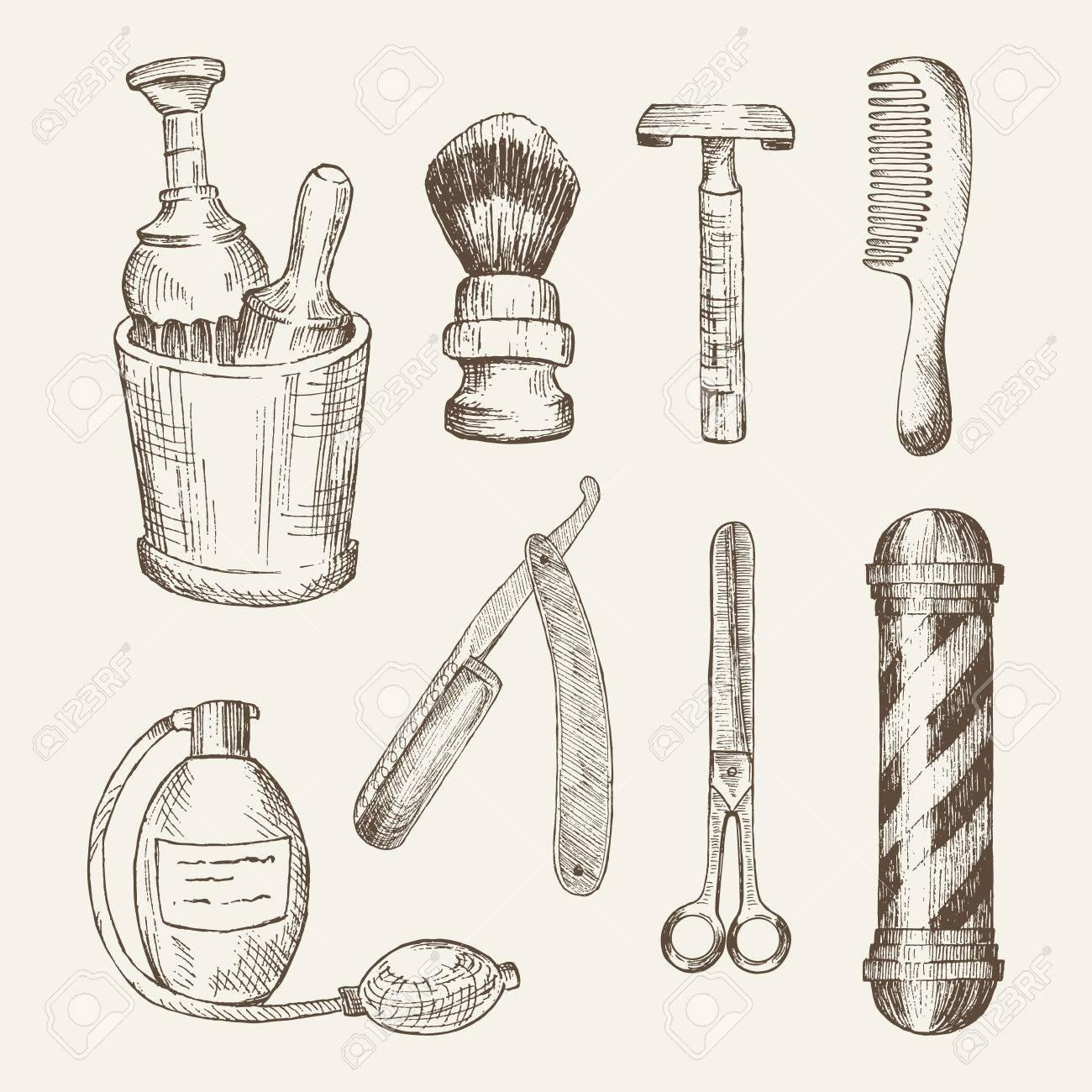 Retro Illustrations Of Barber Shop Elements Cup Brush Razor