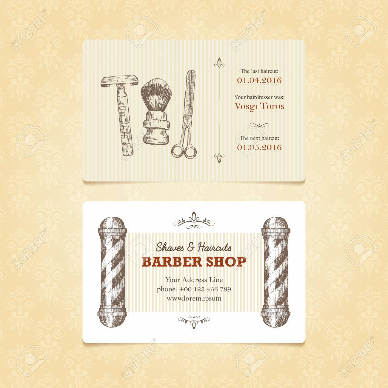 Business card in retro style for a barber shop vintage templates business card in retro style for a barber shop vintage templates with a place for reheart Choice Image