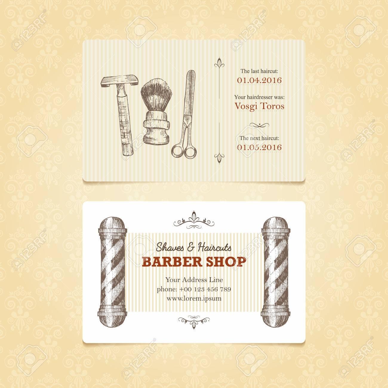 Carte De Visite Dans Le Style Rtro Pour Un Salon Coiffure