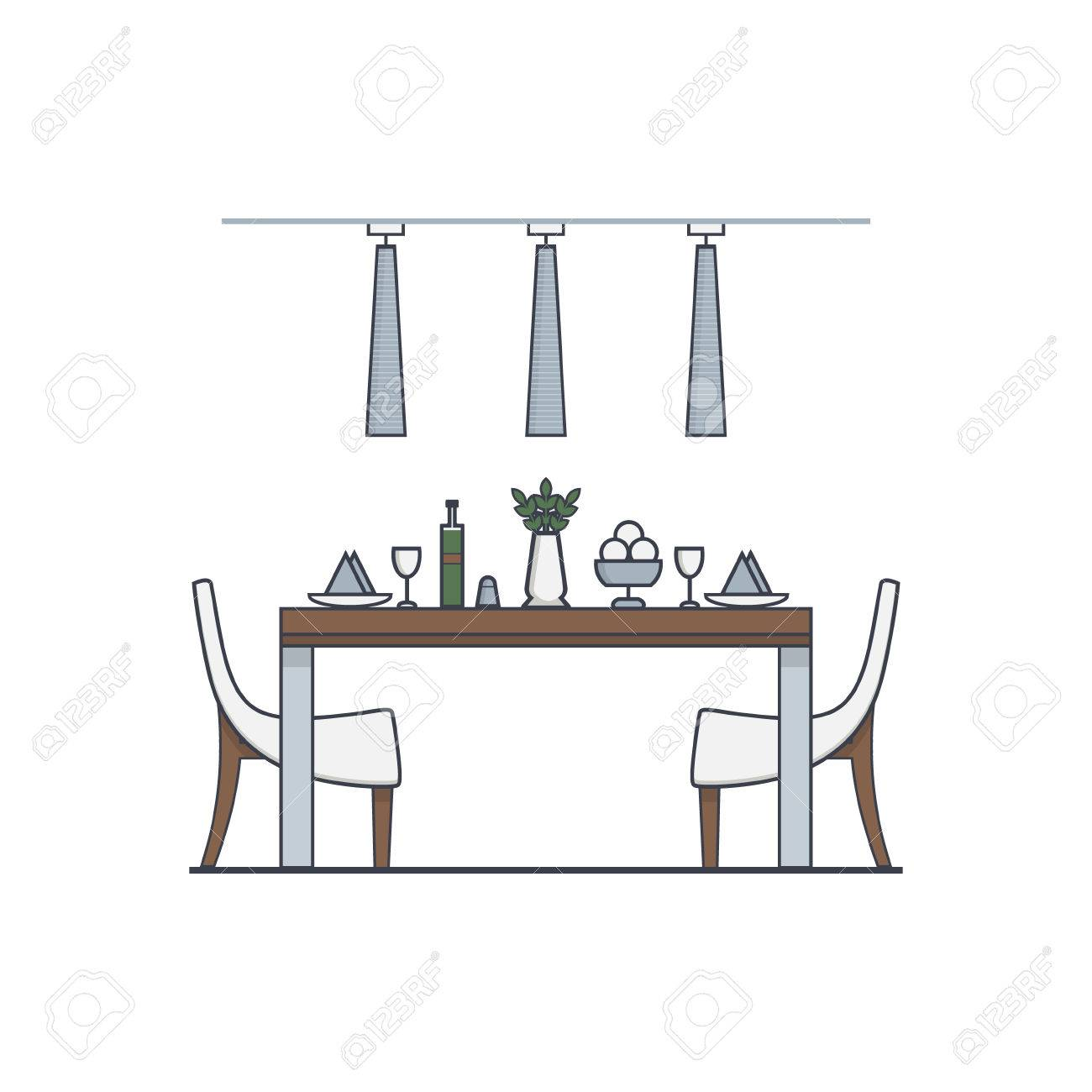 Dining Room Design Made In Modern Style Linear Vector Concept Of Apartment With Utensils