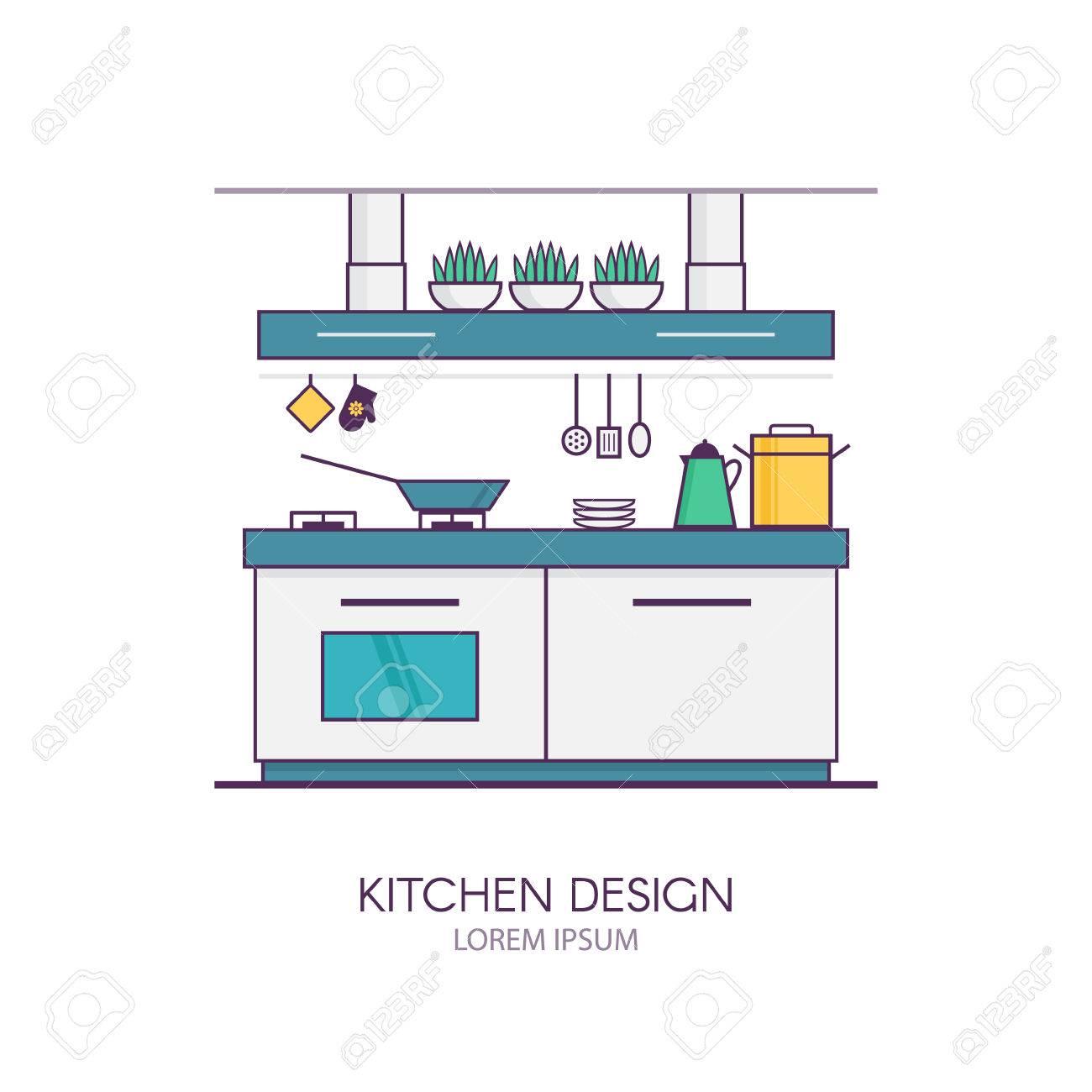 Modern Kitchen Interior Design In Linear Flat Style. Concept ...