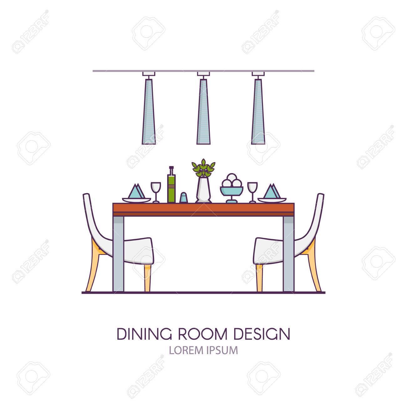 Diseño Moderno Comedor En Estilo Vector Lineal. Concepto De Entre ...