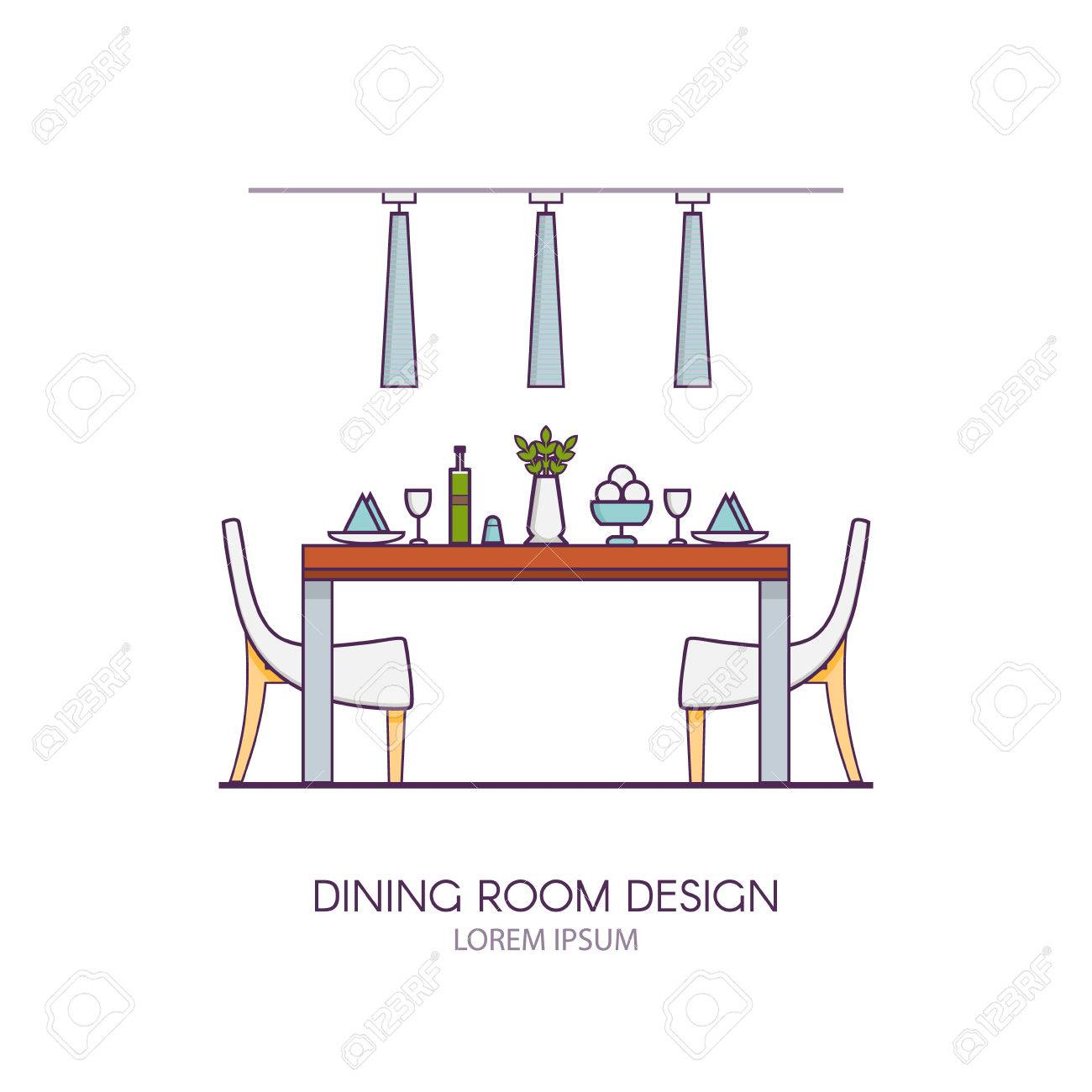 Modern Dining Room Design Made In Style Linear Vector Concept Of Interior Apartment With