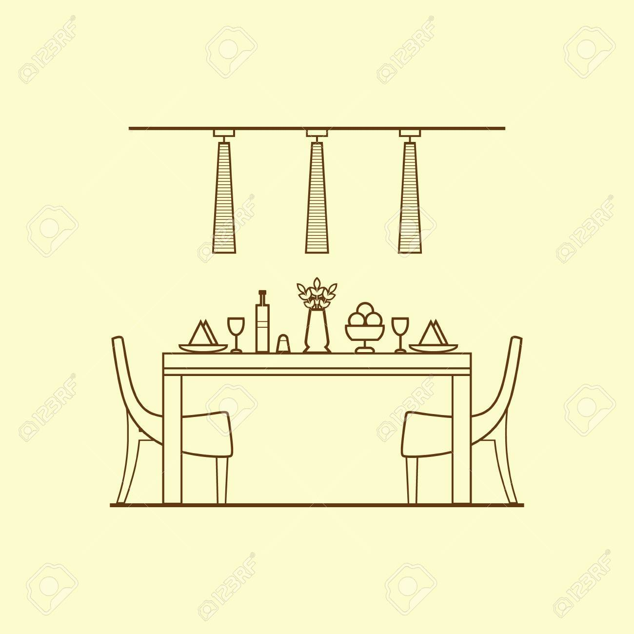 Dining Room Design Made Of Thin Line Concept With Utensils