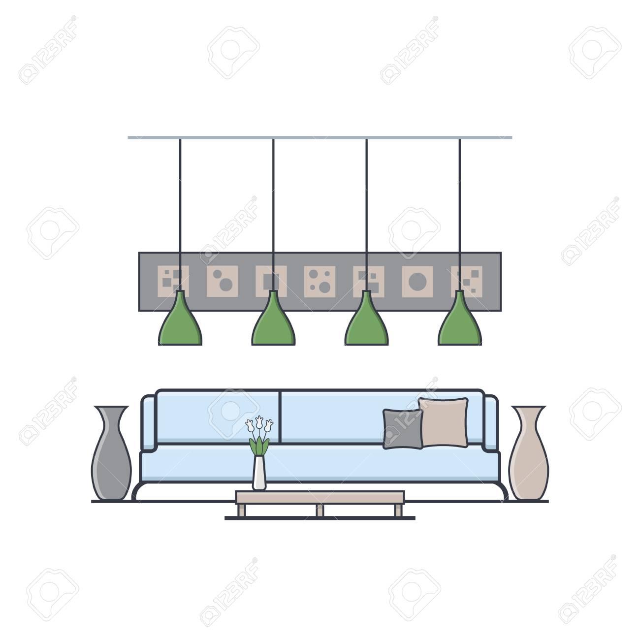 Halle Design In Linearen Flachen Stil. Konzept Der Modernen Wohnung ...