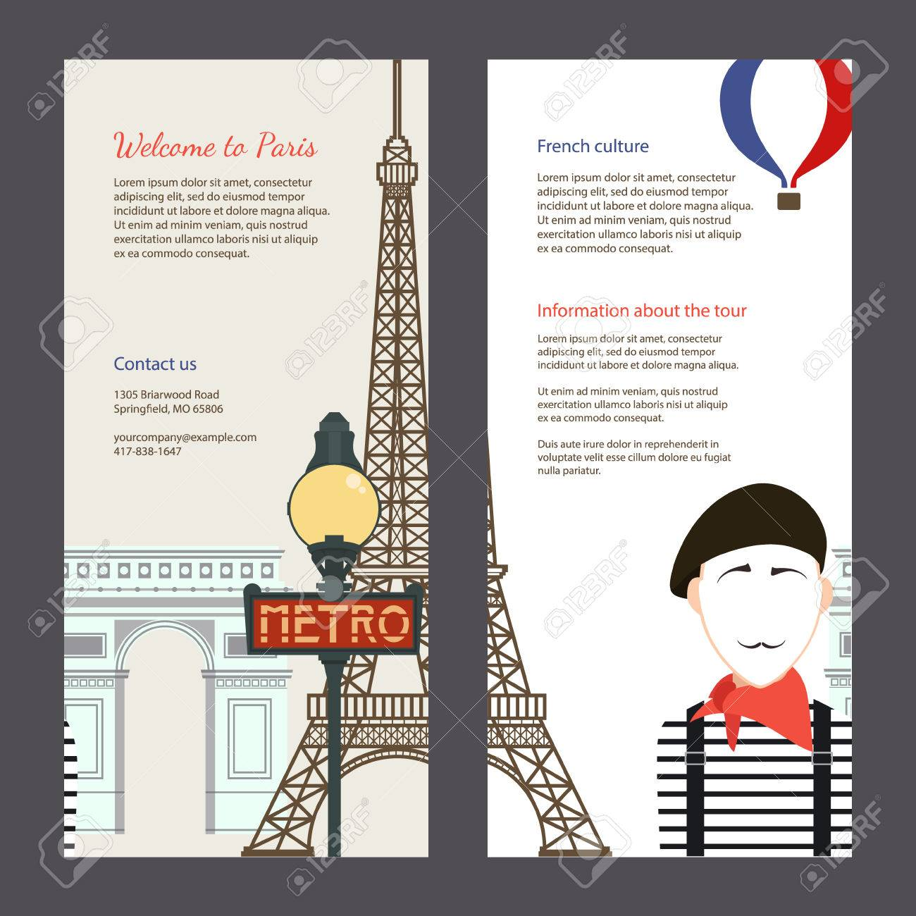 Die Reise Nach Paris. Travel Flyer Mit Den Berühmten ...