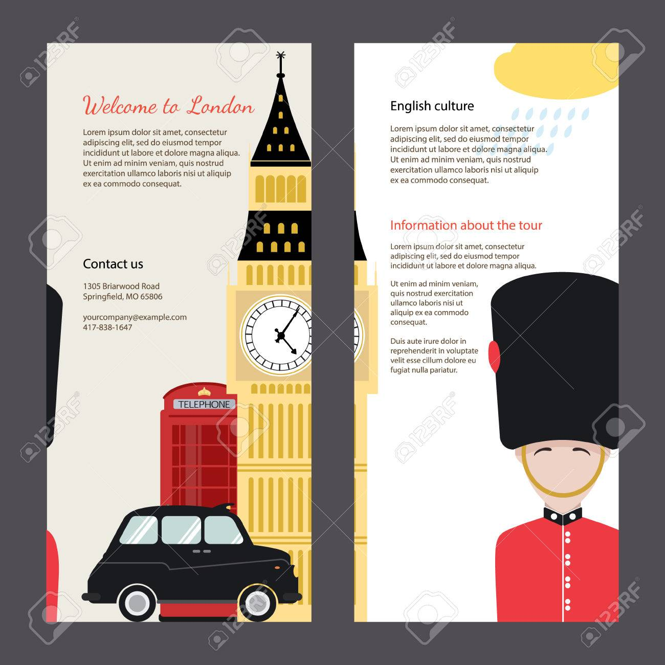 The Trip To London Travel Flyers With Famous Landmarks And Symbols