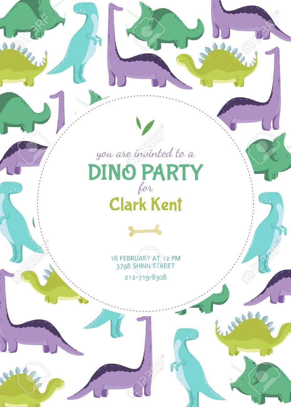 Tarjeta De Invitación O Un Cartel En El Partido De Dino Ilustración Del Vector Con Los Dinosaurios De Colores Plantilla Con Un Lugar Para El Texto