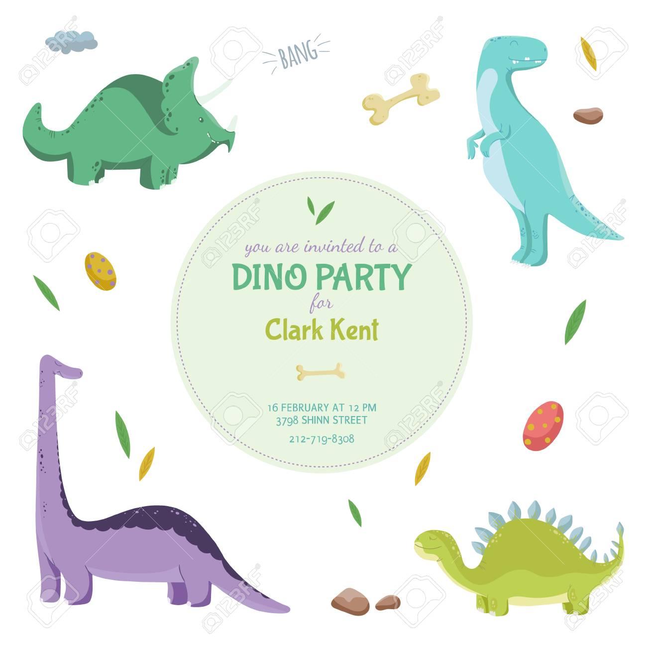 Dinosaurios Tarjeta De Invitación O Un Cartel En El Partido De Dino Ilustración Del Vector Con Los Dinosaurios De Colores Plantilla Con Un Lugar