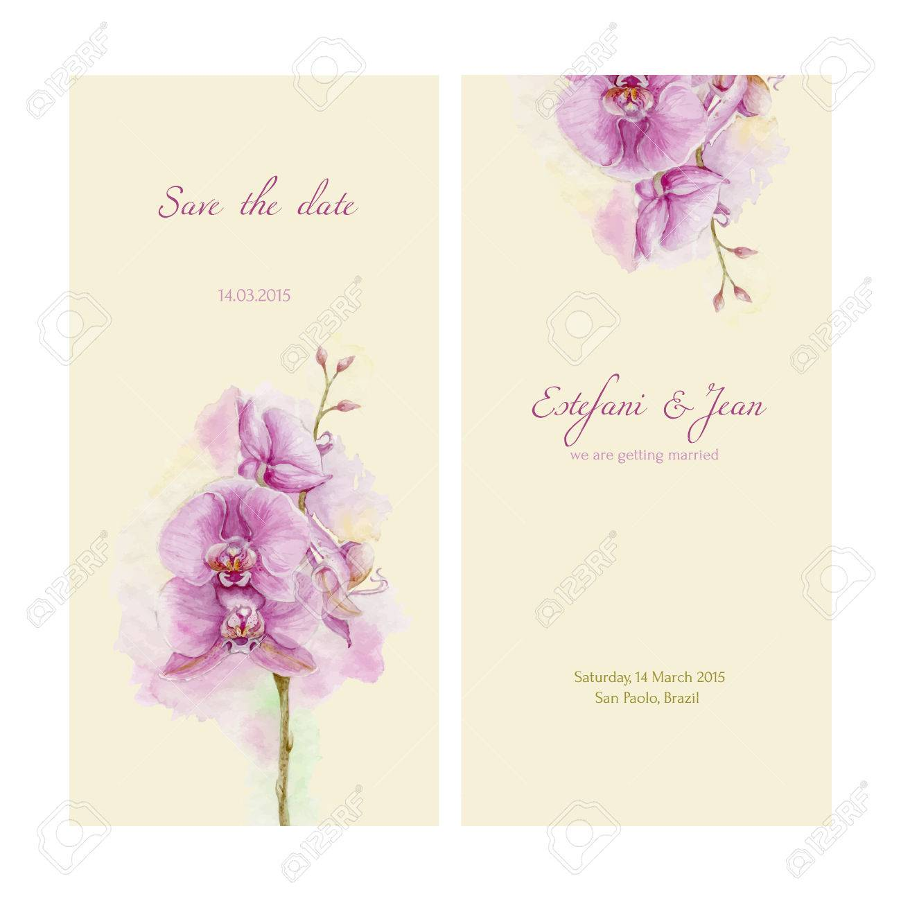 Save The Date. Love Card With Watercolor Orchid On Yellow Background ...