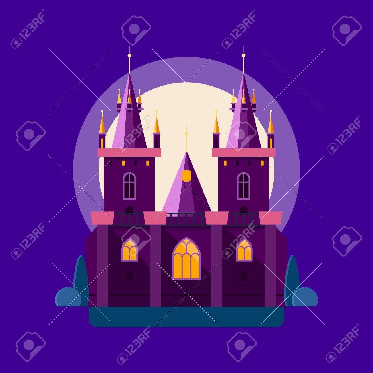 Vector Illustration Of A Night Medieval Castle In Linear