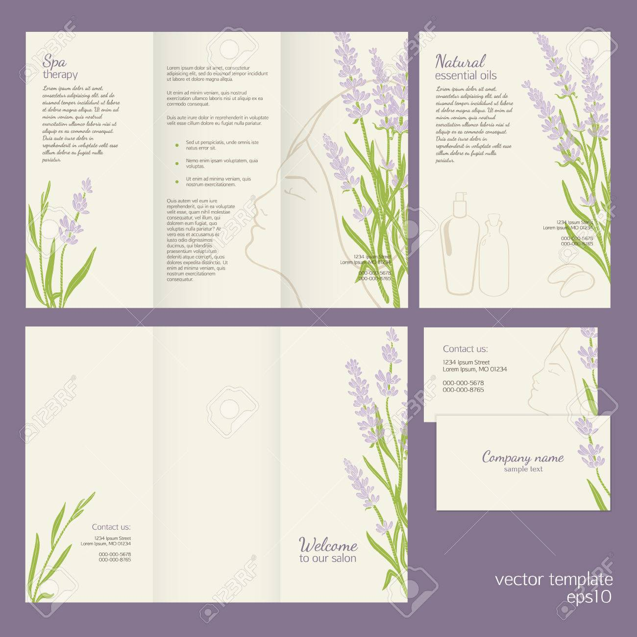 Lavender spa concept vector template of brochure leaflet and lavender spa concept vector template of brochure leaflet and business card with female silhouette reheart Choice Image