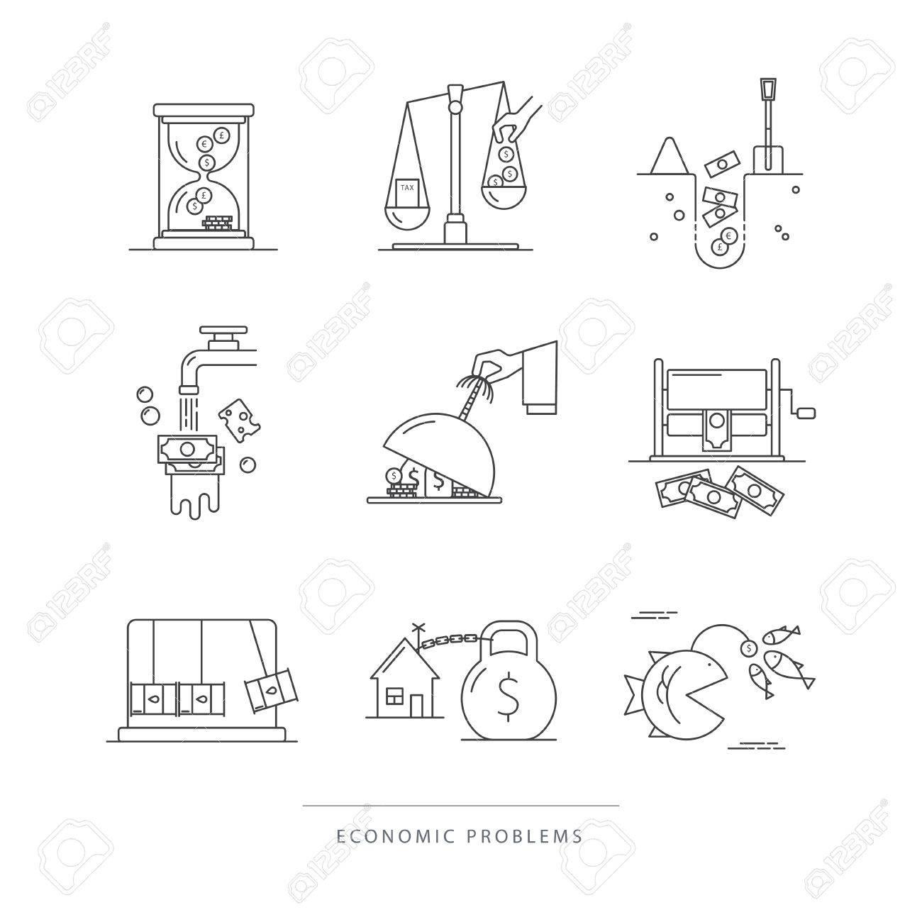 Vector Reihe Von Wirtschaftlichen Symbole Mit Populären Wirtschaft ...