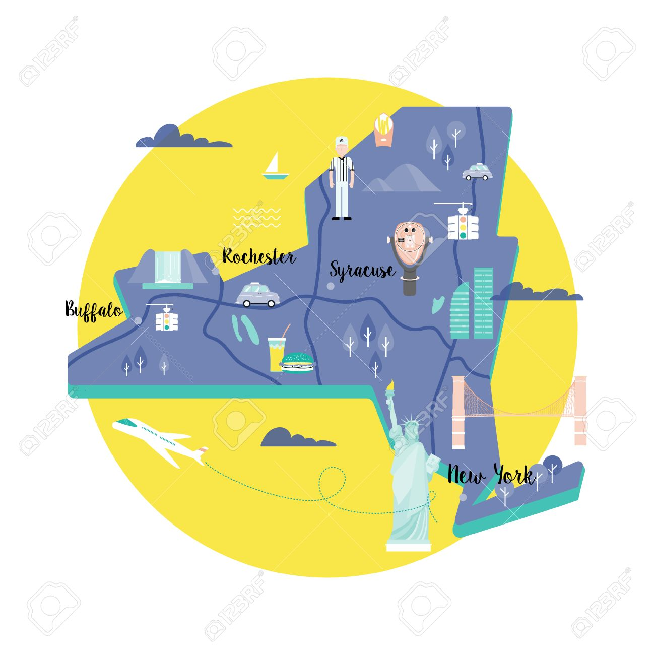 Map Of New York Landmarks.Vector Map Of New York In Retro Style With Landmarks The Statue