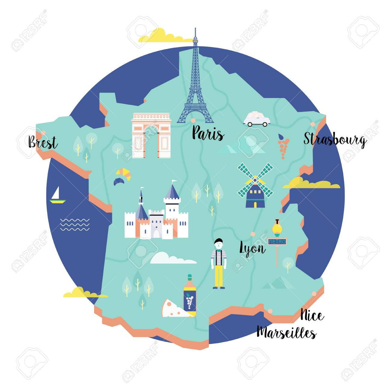 Map Of France Eiffel Tower.Vector Map Of France In Retro Style With Landmarks The Eiffel