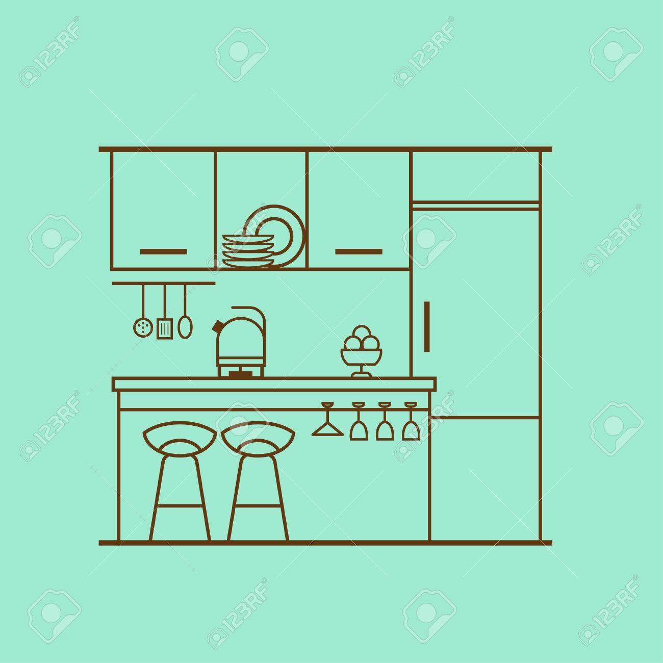 Vector Concept Of Modern Kitchen With Fridge, Utensils, Furniture ...