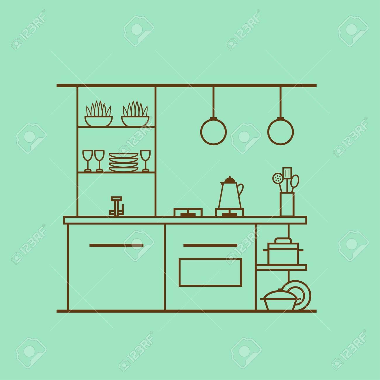 Kitchen Interior Design Made Of Thin Line Concept Of Modern