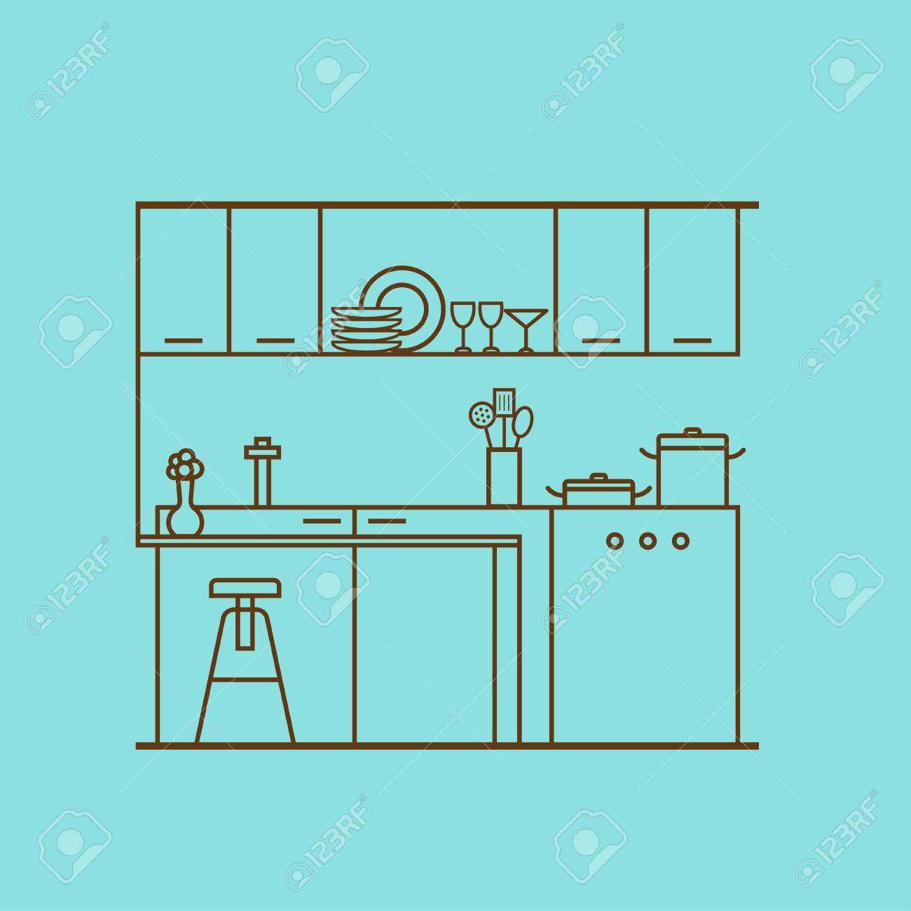Innenarchitektur Der Küche. Vektor Konzept Der Modernen Küche Mit ...