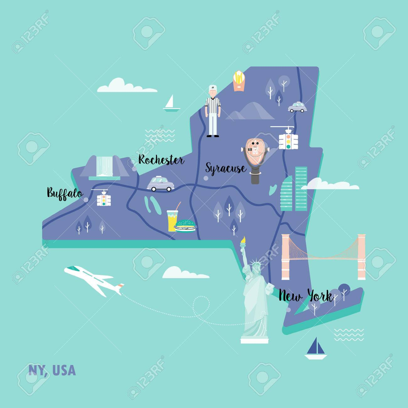 Map Of New York Landmarks.Colorful Map Of New York In Retro Style With Landmarks The Statue