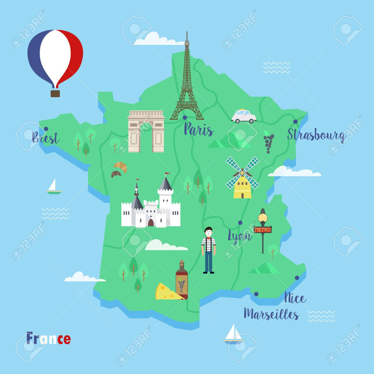 Map Of France Eiffel Tower.France Colorful Travel Maps With Popular Landmarks The Eiffel