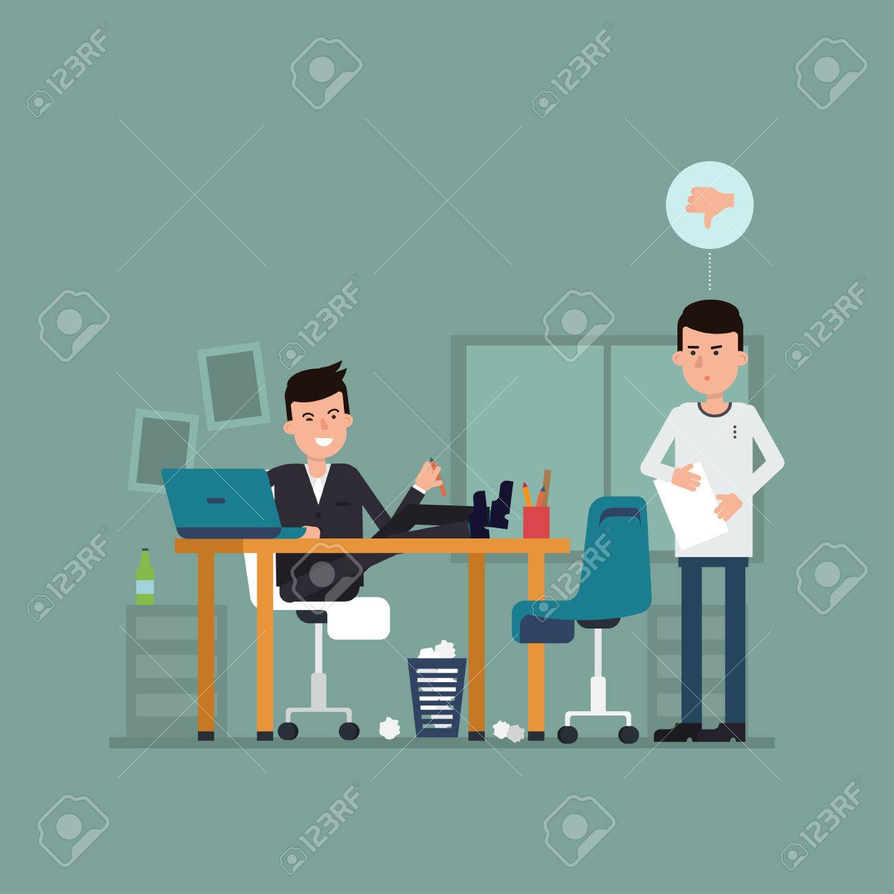vector flat concept of interview on a bad job illustration illustration surprised jobseeker and irresponsible employer bad impression thumbs down concept working situation recruitment or hiring