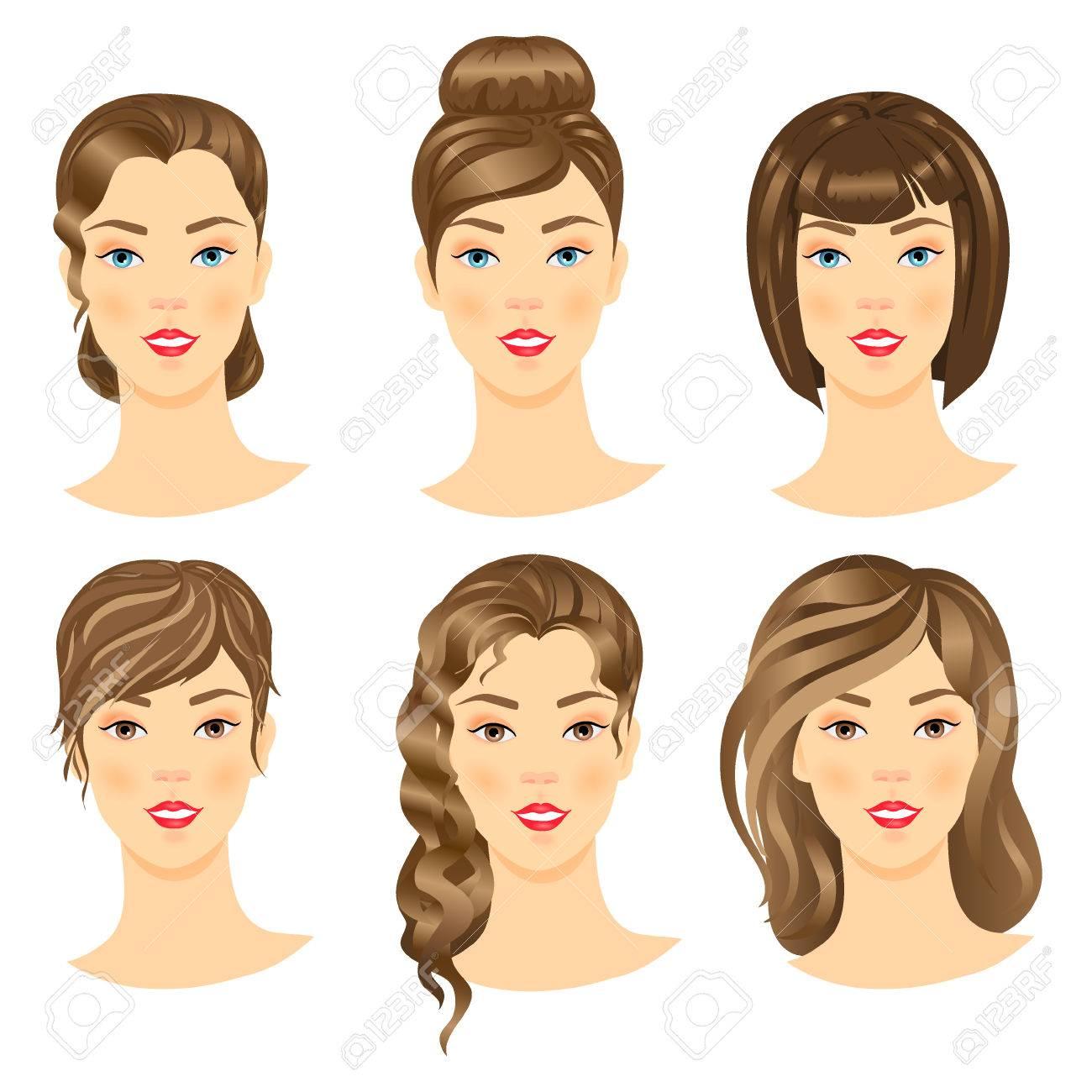 Set Von Niedlichen Mädchen Mit Verschiedenen Hairstyles.Vector ...