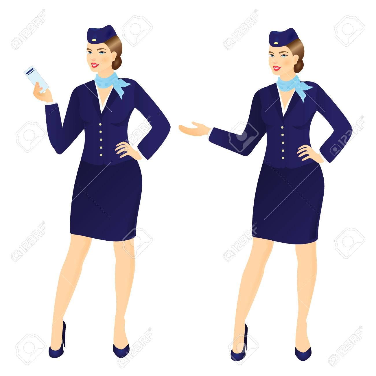 Vector Illustration De La Jeune Hotesse De L Air Attrayant Dans