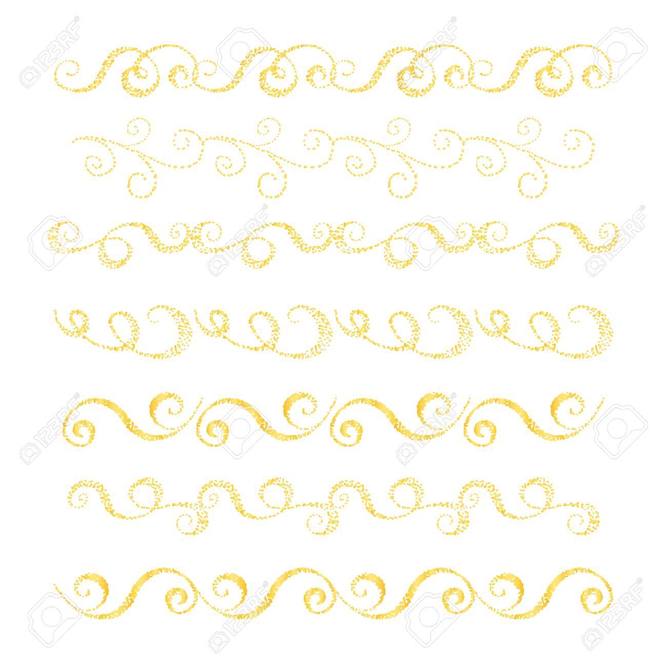 Conjunto De Bordes Dibujados A Mano Elemento De Diseño Para Tarjetas De Boda En Invitaciones Y Guardar Las Tarjetas De Fecha