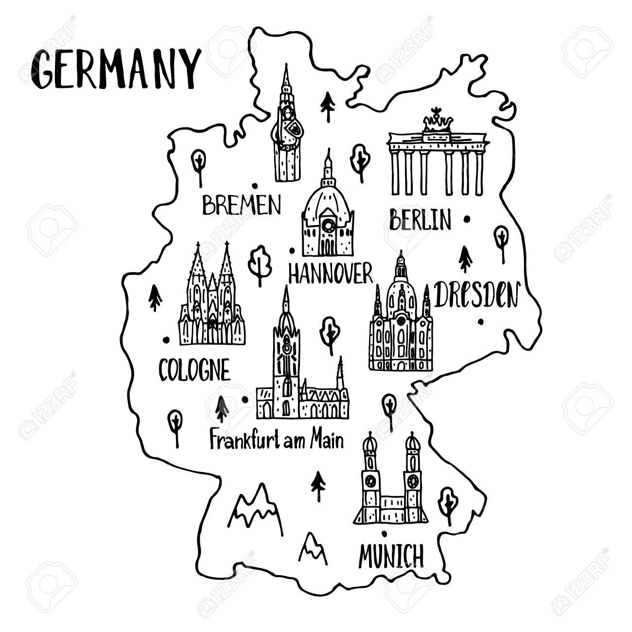Handdrawn Map Of Germany With Main Symbols And Lettering Of Main - Germany map main cities
