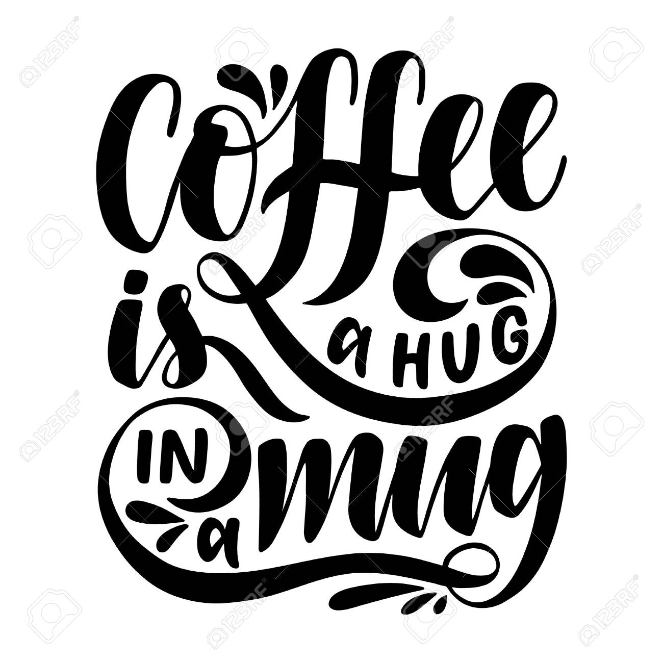 Coffee Is A Hug In A Mugspirational Quotehand Drawn Poster
