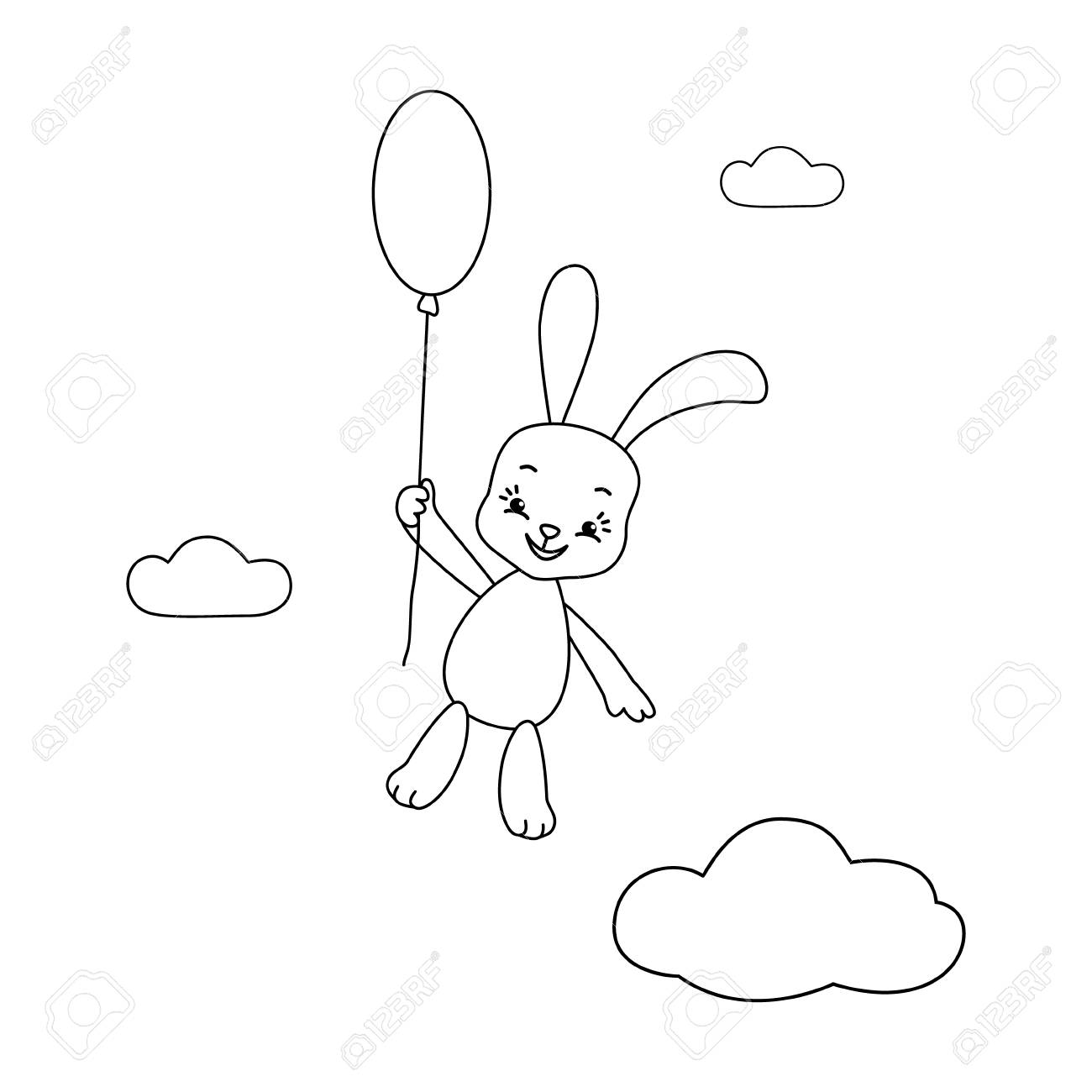 coloring page vector illustration of cute bunny with balloon
