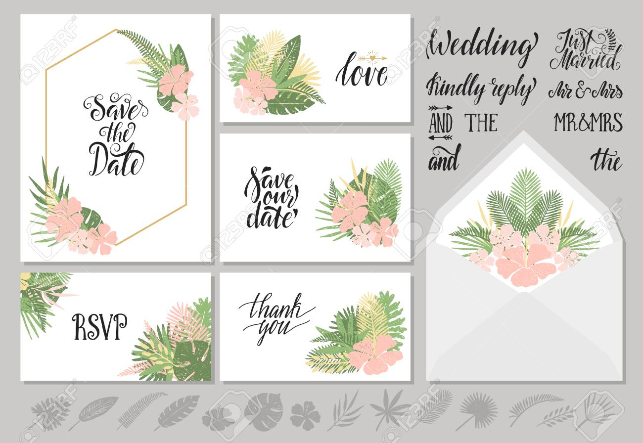 Set Of Wedding Invitations Templates With Tropical Leaves And ...