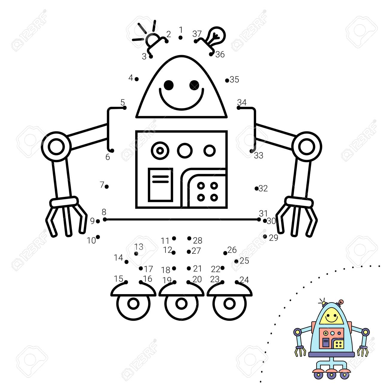 Educational children game. Dot to dot. Robot. Coloring book.